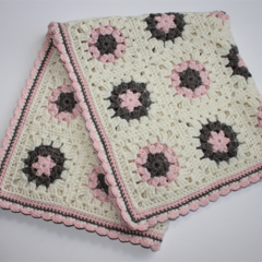 Crocheted Baby Girl Blanket | Pram Stroller | Ready to Ship | Wool Bamboo Silk