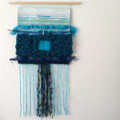 Hand woven wall hanging, tapestry, boho weaving - 'Celandine'