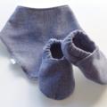 Blue Herringbone Baby Shoes & Bandana Gift Set