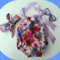 Pretty sun suit with  matching topknot headband. size 000