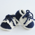 Crocheted Little Sport Saddles Booties. Navy or Purple. Size 6-12 months