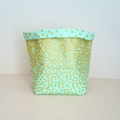 Green with Gold Dots Fabric Basket - Medium