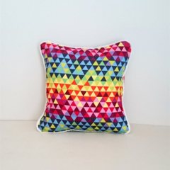 Geometric Triangle Rainbow Envelope Cushion Cover with White Piping
