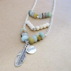 Boho inspired beaded chevron necklace