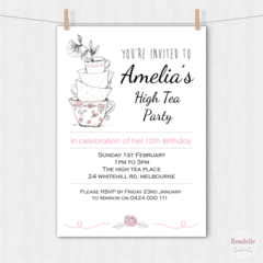 High Tea Birthday Party Invitation. Teacups Printable Custom Personalised Design