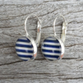 Glass dome hoop earrings - Navy and white stripes
