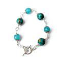 Ocean Jasper and Chalcedony Silver Bracelet