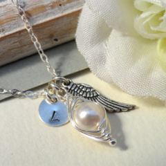 Remembrance Peapod Necklace Angel Wing Peapod Memorial Necklace Miscarriage