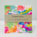 Coasters, tile coasters, drink coasters, ceramic tile coaster, watercolour