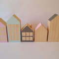 Little wooden houses. Set of 5.