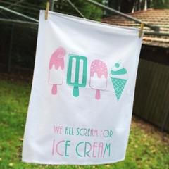 Pink and Mint Pastel Swipe Ice-Cream Tea Towel - We all scream for ice cream!