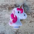 "2"" Felt Pink & White Unicorn Hair Clip"