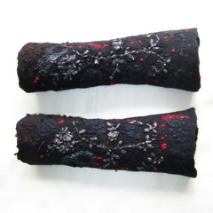 Felted Fingerless Mittens Black Red Art