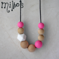 The girliest geometric BPA free silicone and maple wood necklace