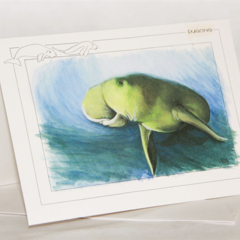 Dugong greeting card Australian wildlife art, 'sea cow'  blue ocean water