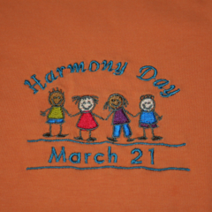 "Embroidered Orange ""HARMONY DAY"" T-Shirt for kids. Sizes: 6 - 16"