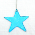 Unique Fused Glass Light Blue Star - Sun Catcher -Christmas Decoration