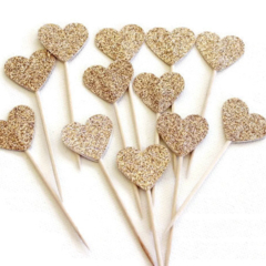 Glitter Love Heart Cupcake Pokes/Cake Toppers.Twelve. Gold Glitter/Wedding
