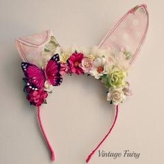 Jemima Easter bunny ears Pink polka