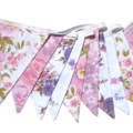 Vintage Bunting Retro Pink / Purple Floral & Lace Flags. Garden Party Decoration