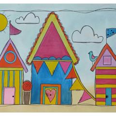 ORIGINAL A3 Watercolour and Ink. Summer Beach Houses