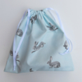 Super Cute Handmade Blue Bunny Print Toy Bag/Gift Bag/Storage Bag