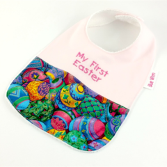Easter Baby Bib, Embroidered with My First Easter, Easter Egg Cotton Fabric.