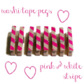 Mini Wooden Pegs. Neon Pink and White. Oblique Stripe.
