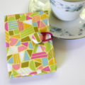 Tea Bag Wallet - Hidden Neon Hearts on Lime with chevron zigzags.