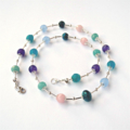 Rainbow Gemstone and Liquid Silver Necklace