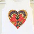 Love Heart Shape Batik Applique on a Cotton Onesie / Bodysuit or Girls Blouse