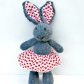 Eliza the Knitted Bunny Rabbit Toy with Love Heart  Party Skirt with Pompom trim