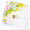 VINTAGE Happy Mother's day card lace paper roses pink blue yellow