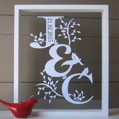 Personalised Wedding or Anniversary Initials Papercut