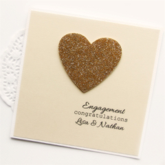 Engagement Card, Personalised Engagement Card, Handmade Engagement Card Gold
