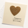 Engagement Personalised card gold glitter heart