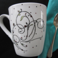 Hand painted abstract art on bone china mug