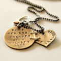 Mothers Day Mother Son Necklace Hand Stamped Personalised Jewelry Sterling