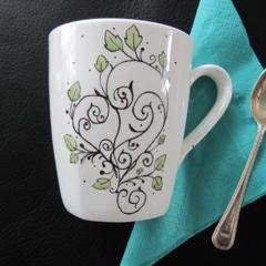 Hand painted abstract art on bone china mug