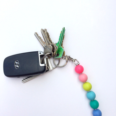 Washable Silicone Bead Keyring / School Bag Tag