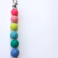 Washable Silicone Bead Keyring / School Bag Tag