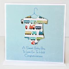 Baby Boy Card, Trains Baby Suit, Newborn Card, Grandson