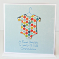 BABY boy card rainbow spotty baby suit with button