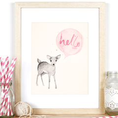 'Hello Deer' A4 Print Baby Girl Nursery