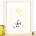 "Bunny with Yellow & Green balloons - 8""x10"" Art Print"