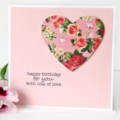 Handmade Birthday Card, Personalised Birthday Card For Her, Pink Roses, Mum Card