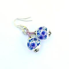 Lavender, Blue & White Flower Ceramic Earrings