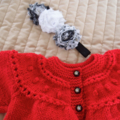 Size 1 years: knitted, cardigan/jacket & headband: Red, washable, girl