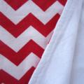 Red and White Zig Zag/Chevron Flannel Baby Blanket