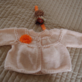 Size 0-6 months: knitted cardigan & headband: light peach, washable, girl